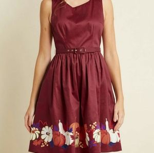Modcloth belted burgundy Autumn dress